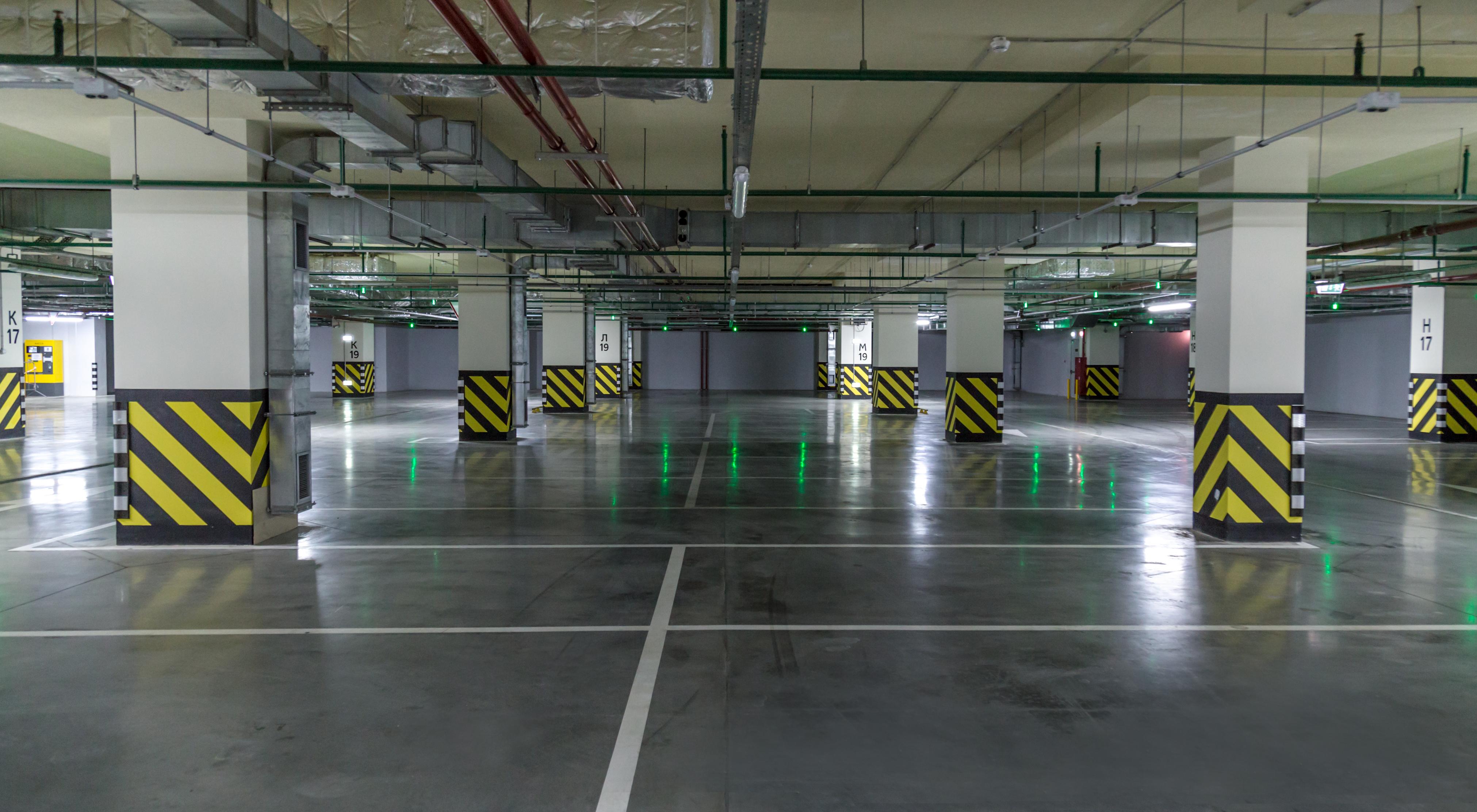 Empty parking lot. Urban, industrial background